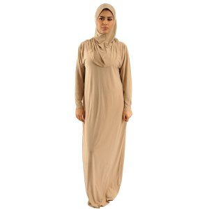 Abaya Prayer clothes 1 piece with attached Hijab beige
